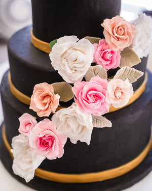 Black & Gold Rose Wedding Cake