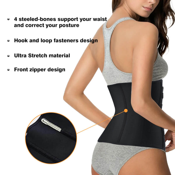 LANCS Neoprene waist trainer sauna Belt with 2 stripes