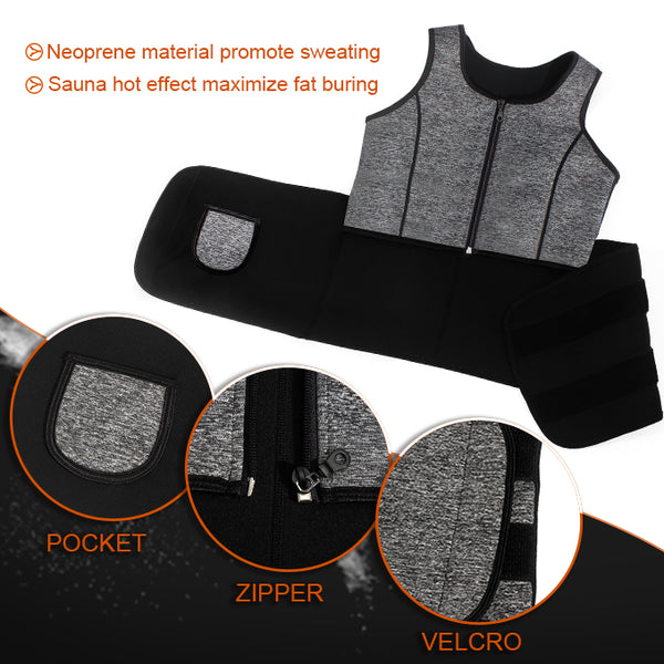 LANCS Sauna Suit Tank Top Vest with Adjustable Waist Trainer Belt