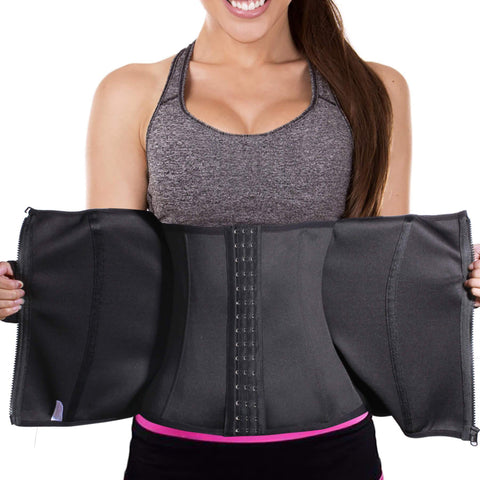 LANCS Waist Cincher with Zipper and Hooks Double Control