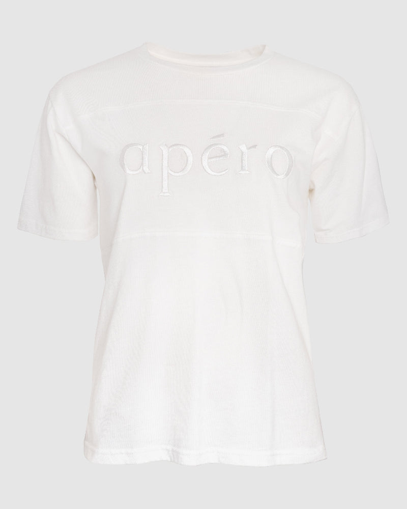 CLASSIC APERO EMBROIDERED TEE WHITE
