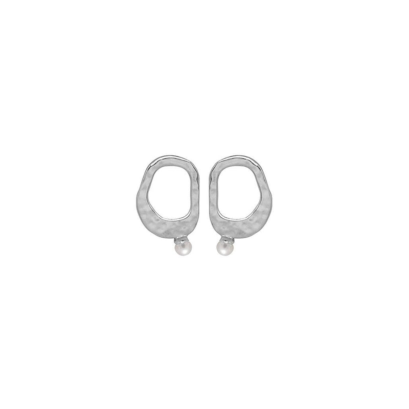 RIVIERA SMALL PEARL EARRING STERLING SILVER