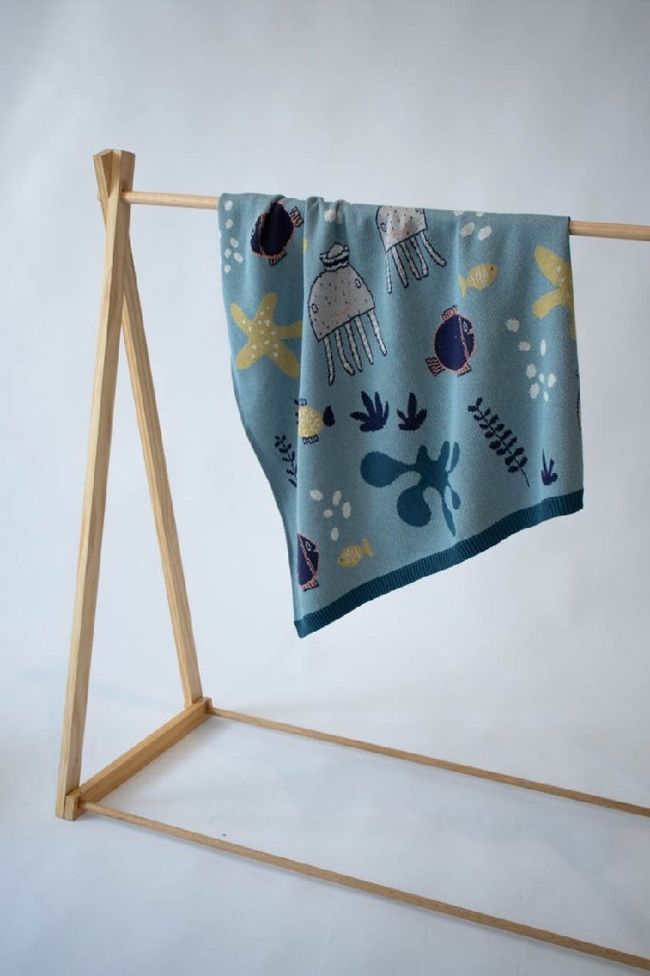 BABY BLANKET UNDER THE SEA BLUE BLANKET