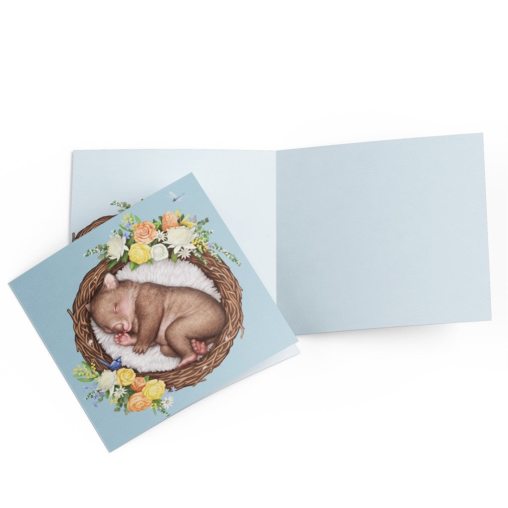 GREETING CARD NESTED BABY WOMBAT