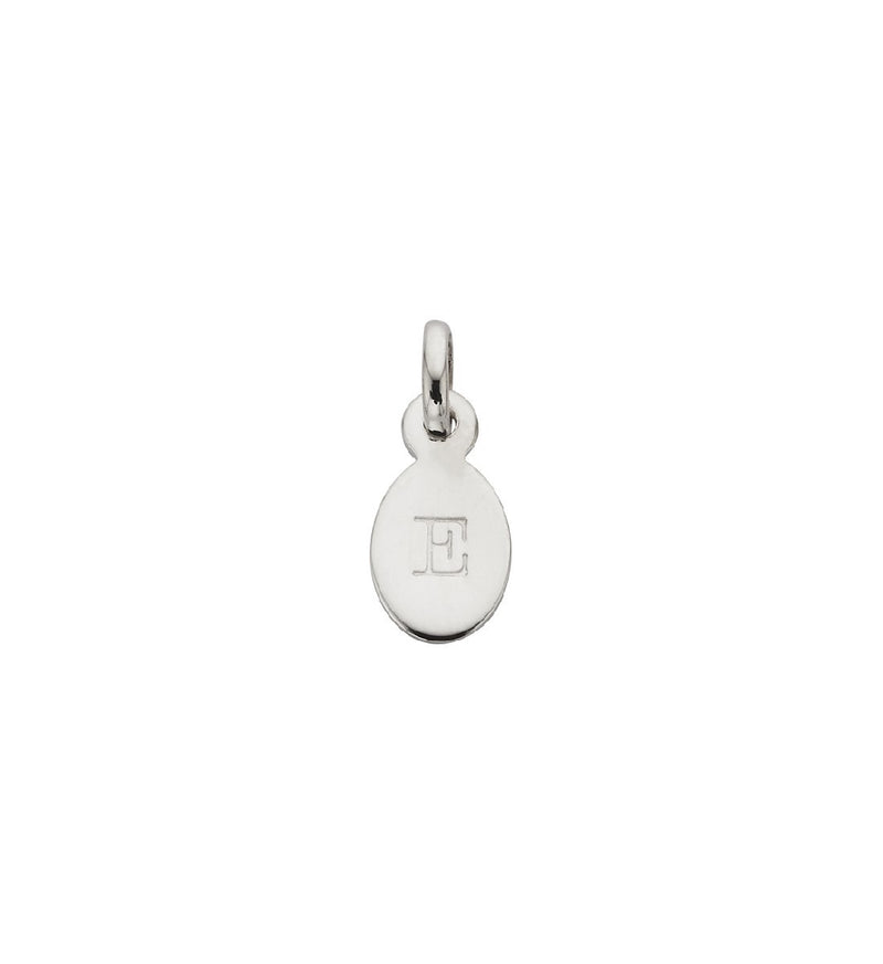 CHARM E OVAL LETTER STERLING SILVER
