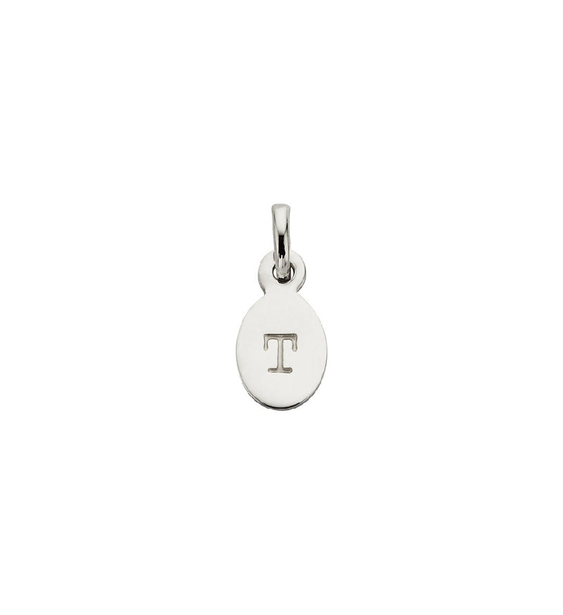 CHARM T OVAL LETTER STERLING SILVER