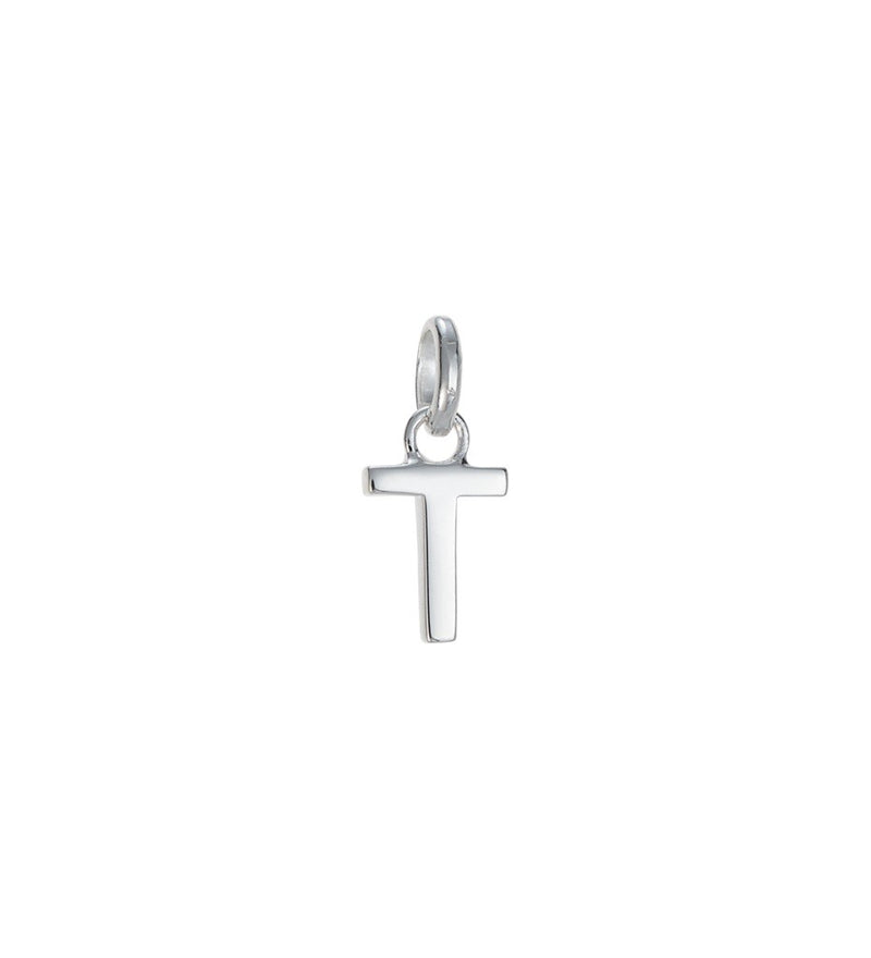 OUTLINE INITIAL T CHARM STERLING SILVER