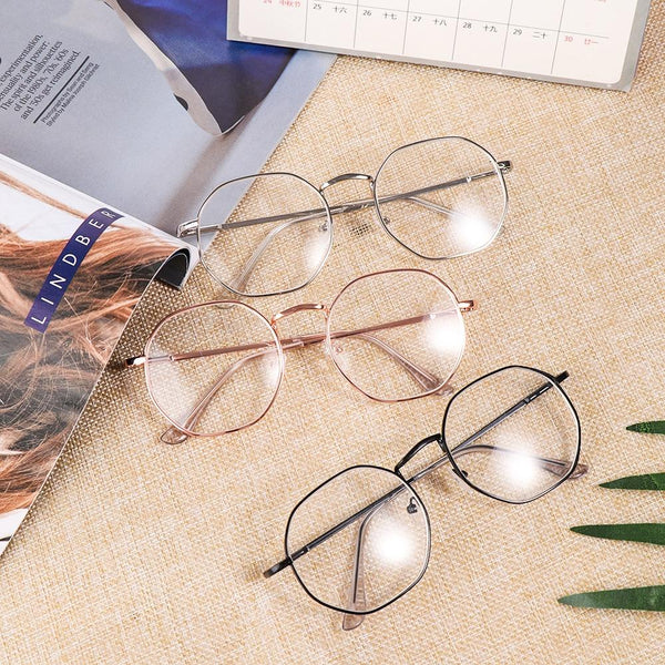New Hexagon Eyeglasses Frame Reading Glasses Eyewear Men and Women - SunglassesTrendz
