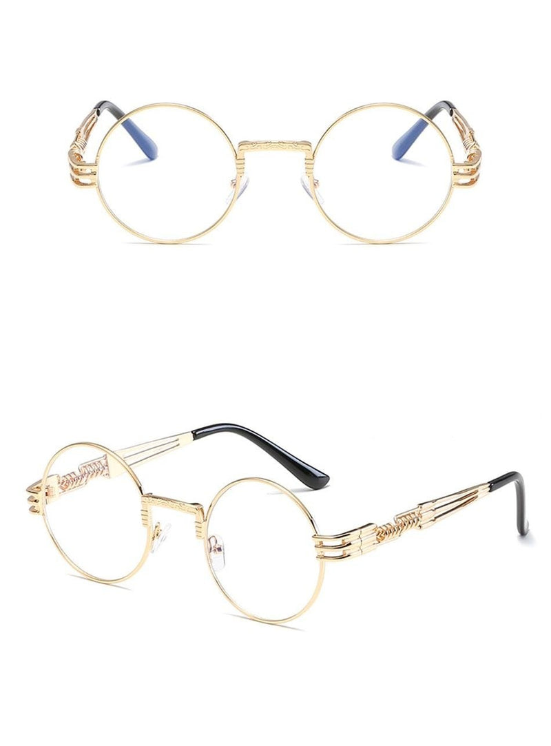 New Fashion Retro Steampunk Round Metal Frames for Men and Women Double Spring Leg Eyewear UV400 - SunglassesTrendz