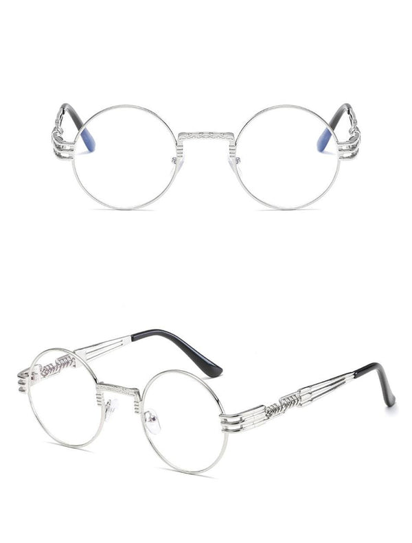 New Fashion Retro Steampunk Round Metal Frames for Men and Women Double Spring Leg Eyewear UV400 - BRANDEDBABA