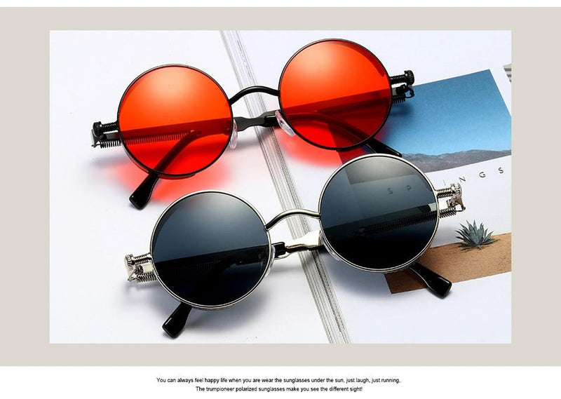 Stylish Round Vintage Metal Retro Design Sunglasses For Men And Women