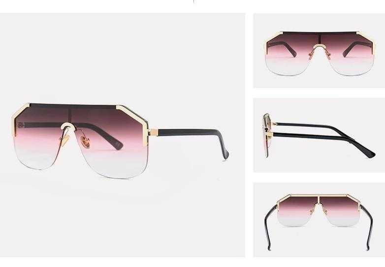 New Square Oversize Rimless Sunglasses For Men And Women -SunglassesTrendz