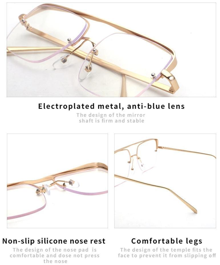 Stylish Square Half Rim Eye Glasses For Men And Women-SunglassesTrendz