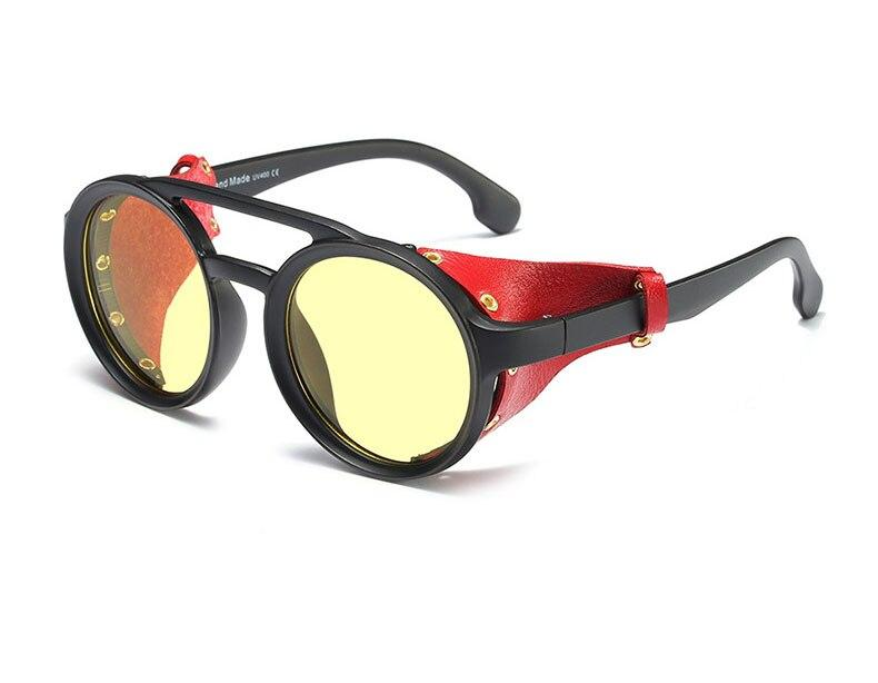 Fashion Round Vintage Punk Rivet Wrap Steampunk Sunglasses Men