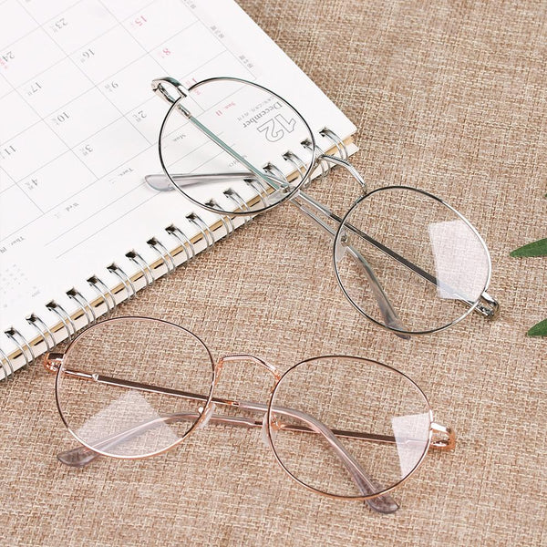 New Fashion Eyeglasses Round Metal Frame Reading Glasses Eyewear Vintage Women Men - SunglassesTrendz