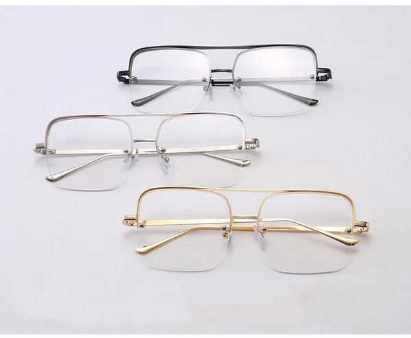 Square Glasses Frame Fashion Metal Eyewear Frame Men Women Optical - SunglassesTrendz