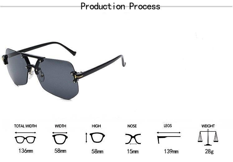 Square Hip Hop Fashion Brand Designer rimless Sunglasses Frame Men Women - SunglassesTrendz