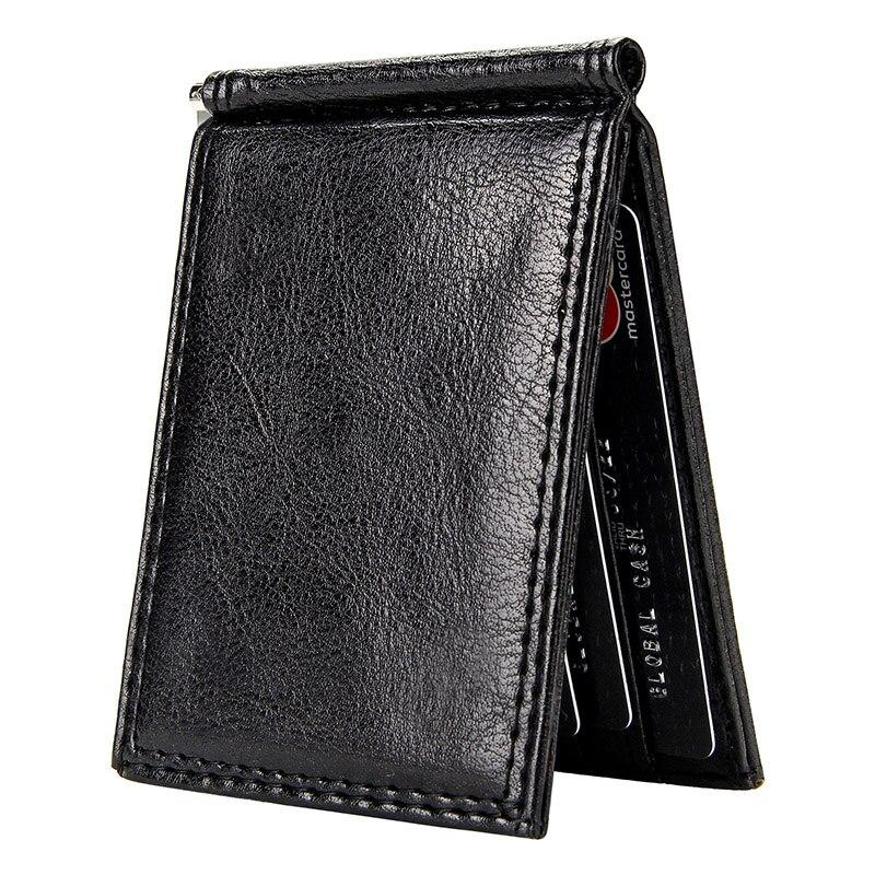 Vintage Slim Money Clip Bifold Short Wallets for Men