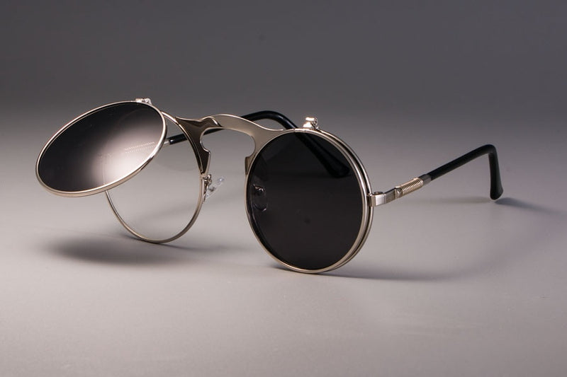 Vintage Round Flip Up Sunglasses For Men And Women-SunglassesTrendz
