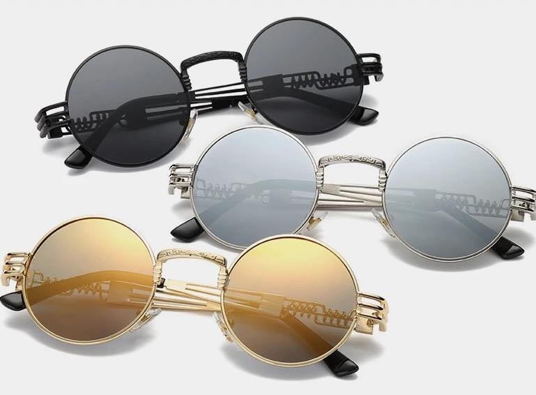 Steampunk Vintage Retro Round Sunglasses For Men And Women -SunglassesTrendz