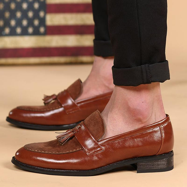 New Arrival Men Brown Boat Shoes Fashion Pointed Toe Suede Tassel Business Leisure Leather Shoes Slip On Loafer Black-SunglassesTrendz