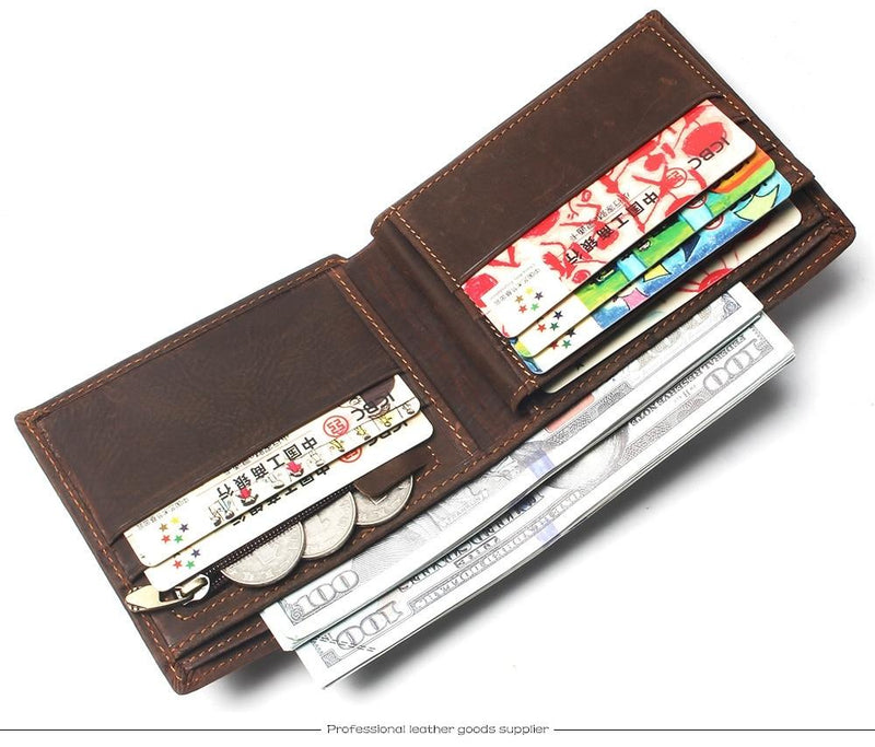 Genuine Leather Wallet With Card Page Credit Card Crazy Horse Men Woven Pattern