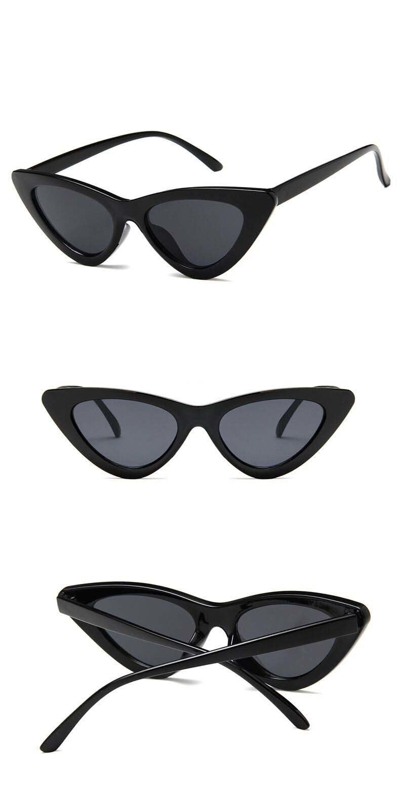 New Retro Fashion Sunglasses Women Brand Designer Vintage Cat Eye Black