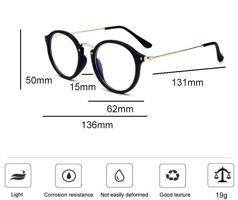 Blue light glasses frame computer glasses spectacles round transparent - SunglassesTrendz
