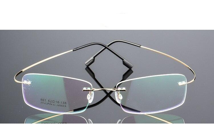 Rimless Titanium Glasses Frames Men Flexible Optical Frame Retro Glasses - SunglassesTrendz