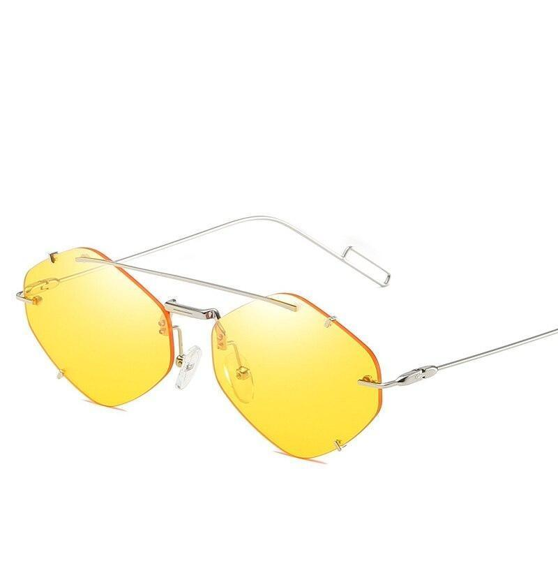 Fashion Polygon Metal Style Rimless Cool Spike Rivets Sunglasses