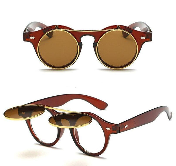 Stylish Vintage Round Flip Up Sunglasses Transparent Frame Women Men - SunglassesTrendz