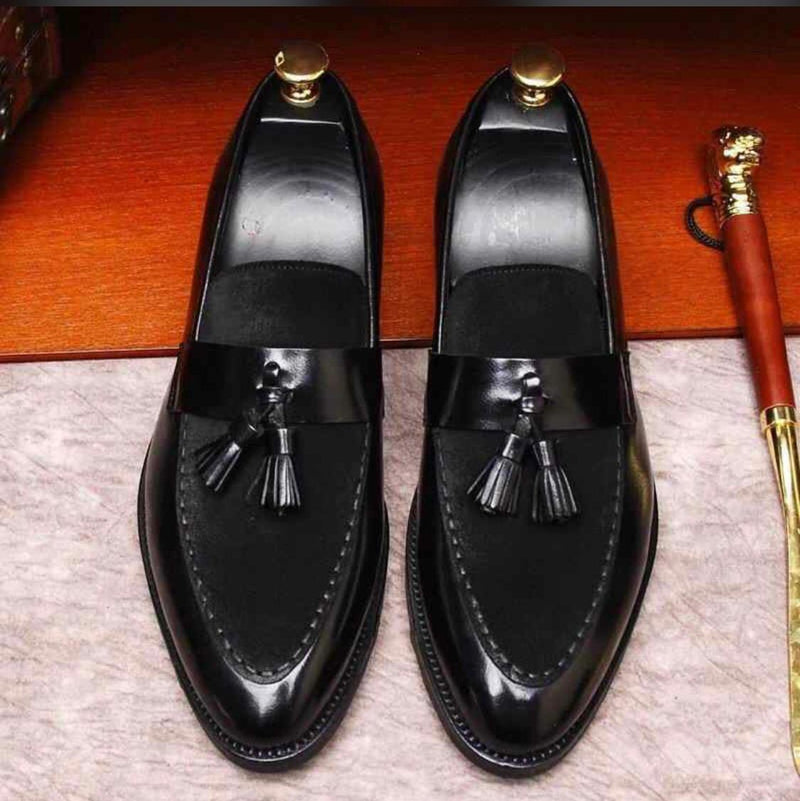 Stylish New Arrival Men Suede Shoes Fashion Pointed Business Leisure Leather Slip On Loafer Black-SunglassesTrendz