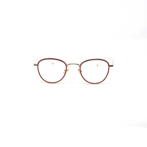 Oval Round Red Gold Frame Eyewear