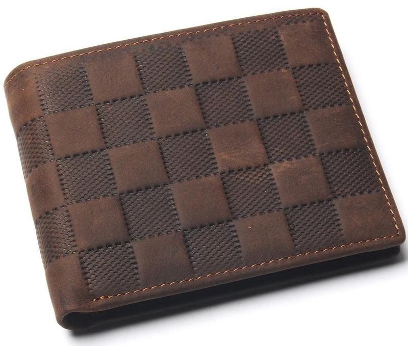Stylish Checks Leather Square Wallet With Coin Pocket