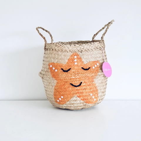 Orange starfish Basket - Small