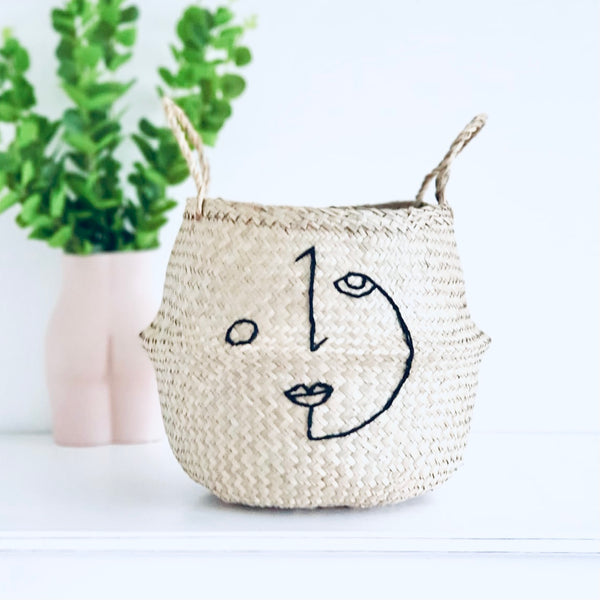 Abstract his face basket - Large