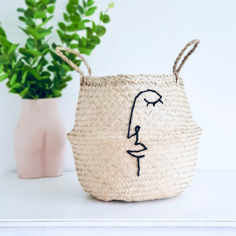 Abstract line face basket - Large