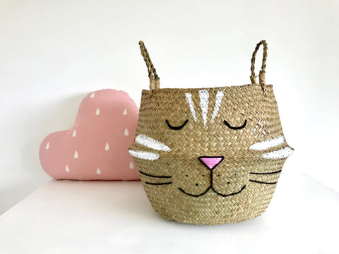 Stripey Cat Basket - Large