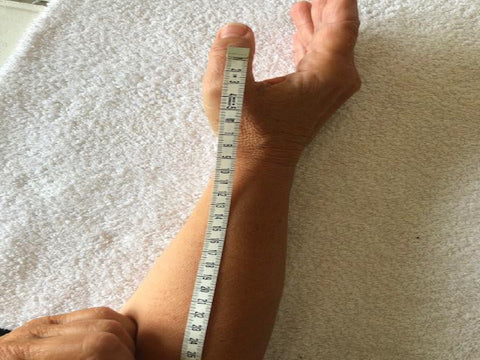 Take the measurements from IP joint to the 2/3 of the forearm