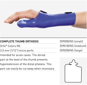 COMPLETE THUMB SPLINT Orfit Colours Precut - 2 piece pack