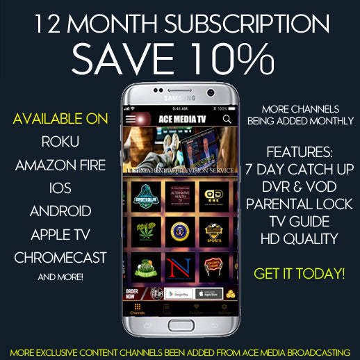Ace Media Broadcasting : 12 Month Subscription -  Save 10%
