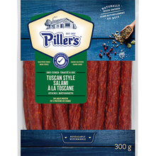 Load image into Gallery viewer, Piller's Tuscan Style Salami Sticks 300g