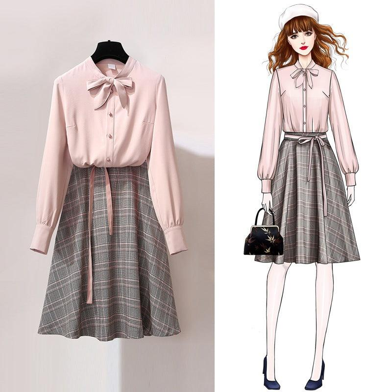 Shirt Skirt 2019 Women's New Spring Style Smart Two-piece Dress Winter with Nice French Population (4050250137709)