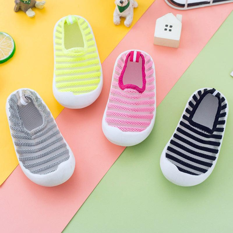 spring and summer small children's mesh shoes 1-3 year-old 4 air-permeable one-foot-on-one foot-on-foot sandal soft bottom baby learning step shoes (4109190955117)