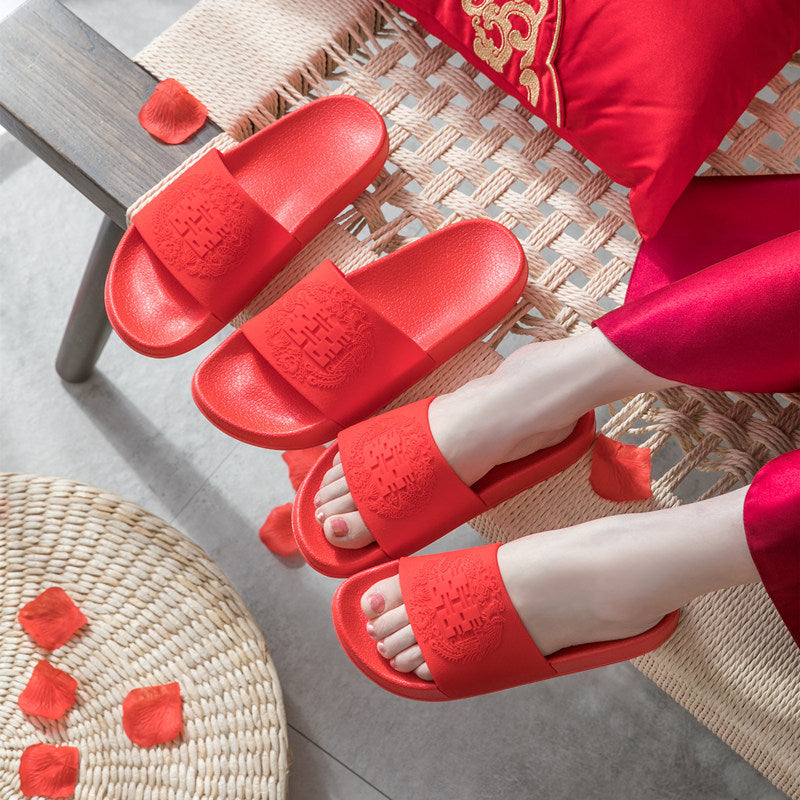 2019 new married couple was festive red slippers red double happiness wedding sandals summer home for men and women (4515400024173)