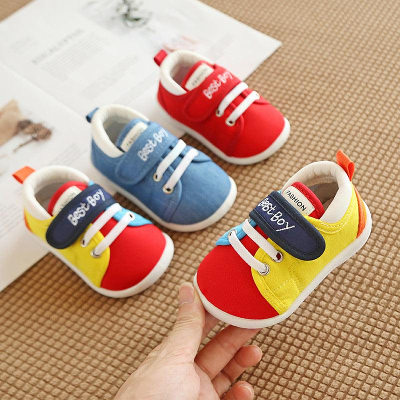 2019Autumn Korean version baby shoes canvas shoes convenient magic sticker children's walking shoes slippery soft sole children's shoes (4058859372653)