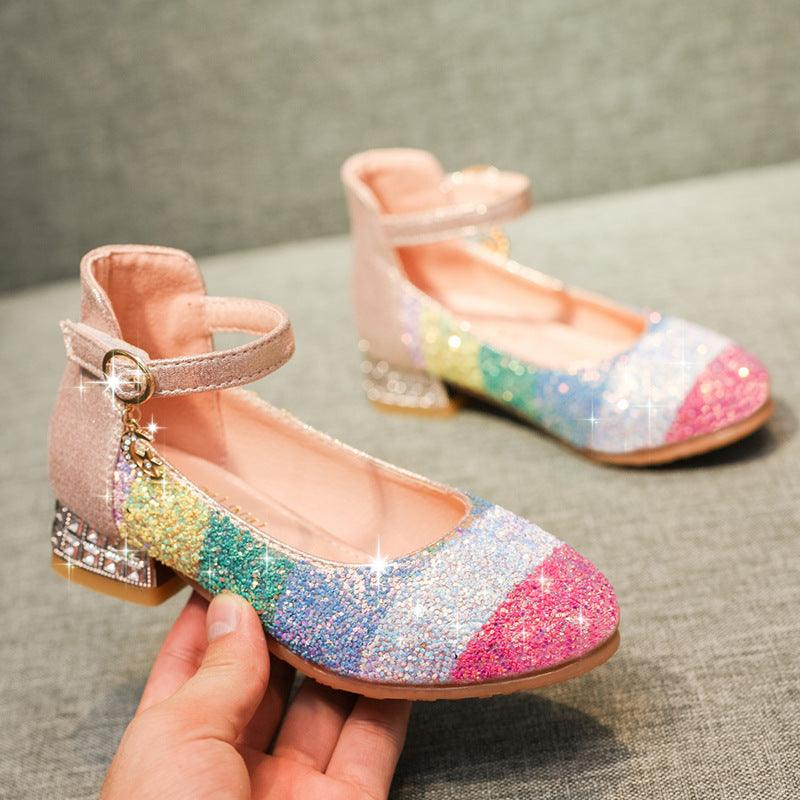Rainbow children's crystal heels 2019 new round-headed soft-soled princess shoes perform dance girls' single shoes (4056881332333)