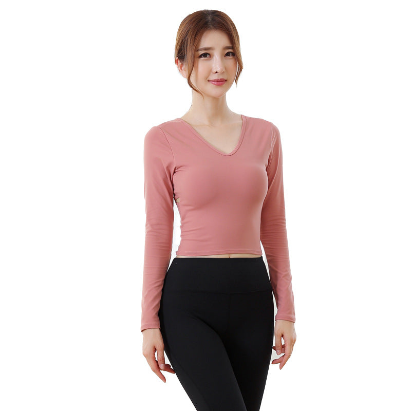 Yoga clothes suit high waist long-sleeved tight-fitting pants two-piece (4519995310189)