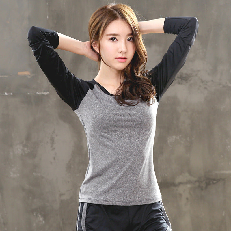 Long-sleeved T-shirt autumn and winter sports yoga clothing female aerobics jogging suits T-shirt Slim Quick-drying sweat fitness yards (4499061637229)