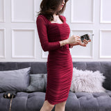 Cross-border dress 2020 spring new ladies Sleeve Slim was thin pencil skirt dress a generation of fat (4513823424621)